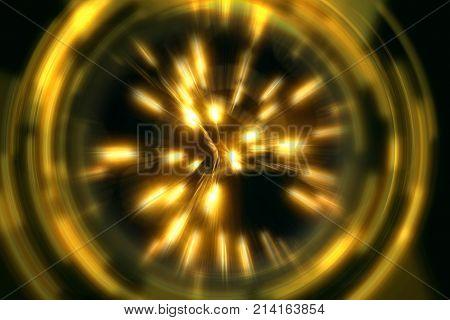 Light Burst with Swirls on Black Background