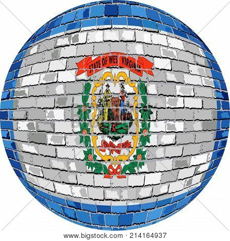 Ball with West Virginia flag - Illustration,  West Virginia flag sphere in brick style