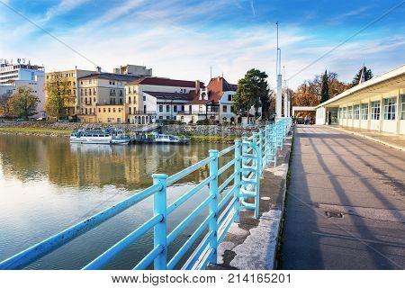 Bridge To Spa Island In Piestany + Vah River + Riverbank + Blue Sky (slovakia)
