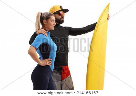 Male and a female surfer with a surfboard isolated on white background