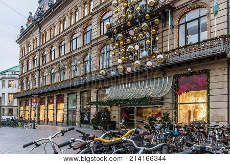 Christmas decorations and bikes in front of Magasin du Nord in Copenhagen November 9 2017