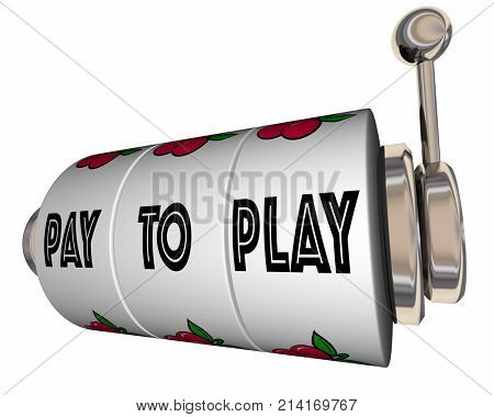 Pay to Play Slot Machine Wheels Bribe Illegal Rigged 3d Illustration