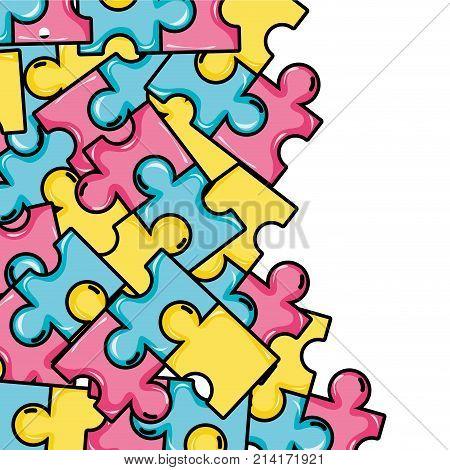 puzzle pieces game background design vector illustration