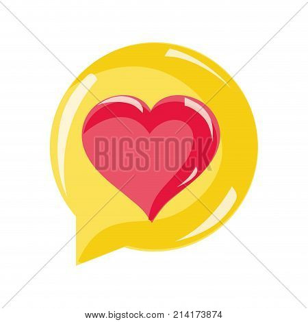 chat bubble with heart inside to love message vector illustration