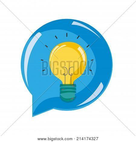 bulb idea inside chat bubble message vector illustration