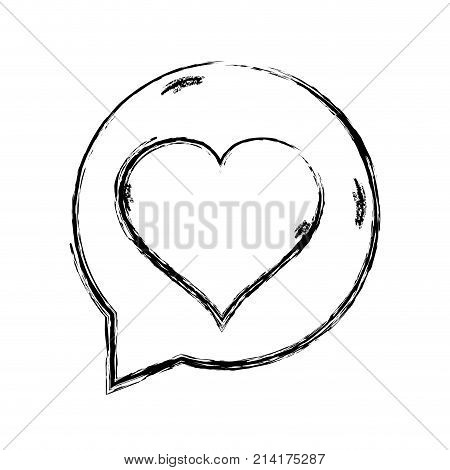 figure chat bubble with heart inside to love message vector illustration