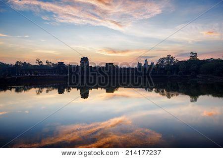 Sunrise At Ancient Temple Angkor Wat, Siem Reap, Cambodia