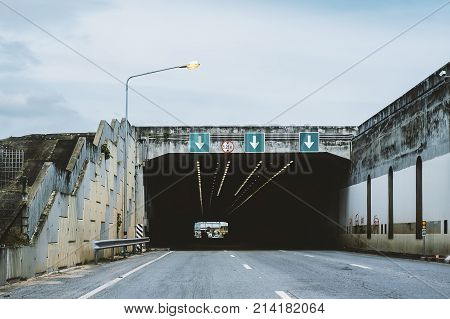 Highway road tunnel with 3 lane and 5.25 meter height limit road sign
