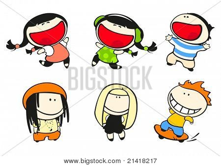Set of images of funny kids on a white background #44, fashion theme
