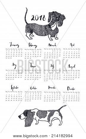 Calendar with Basset Hound and Dachshund dogs Hand drawing style