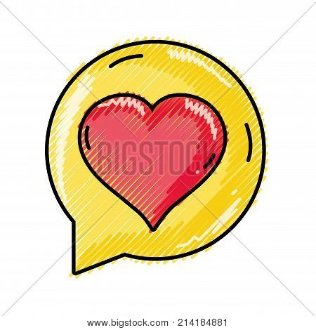 grated chat bubble with heart inside to love message vector illustration