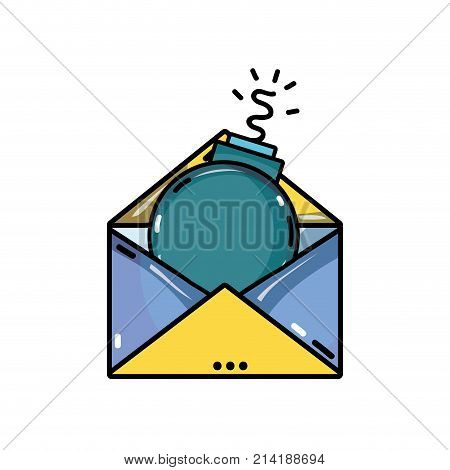 e-mail message information with bomb virus inside vector illustration