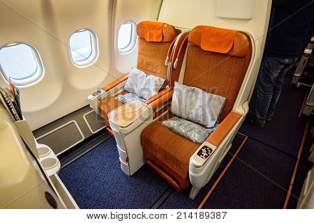 Airplane cabin luxurious business class interior view