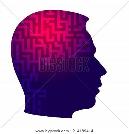 Psychology the concept of man. Labyrinth of perceiving the world. Icons silhouette profile of a man's head with a pattern on a background of puzzle. Vector EPS 10 for page cover book