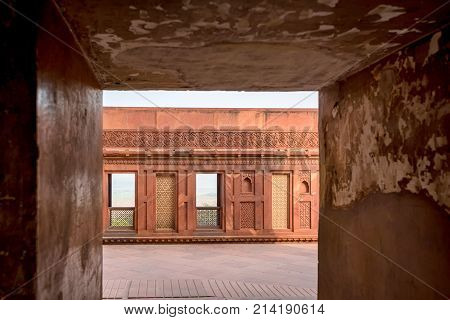 Inside the walls of Agra Red Fort, Unesco World Heritage site, built by several Mughal emperors from XV to XVI centuries in Uttar Pradesh, India.