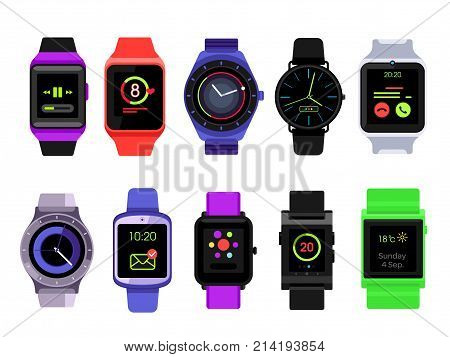 Smart watch set. Watches collection isolated on white background