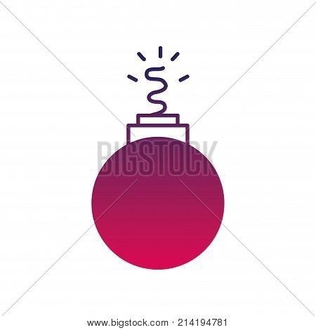 silhouette danger bomb weapon to explode destruction vector illustration