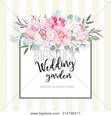 Square floral vector design card. Orchid, peony, rose, camellia, hydrangea flowers, eucalyptus, agonis. Wedding card. Simple backdrop with vertical stripes. All elements are isolated and editable