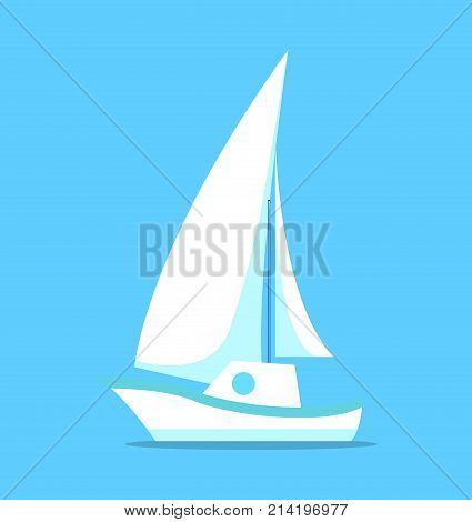 Sailing ship white icon isolated on blue background. Sailboat with canvas, yacht made of paper vector illustration in flat style design