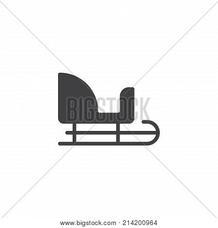 Santa Claus sleigh icon vector, filled flat sign, solid pictogram isolated on white. Winter sledge symbol, logo illustration.
