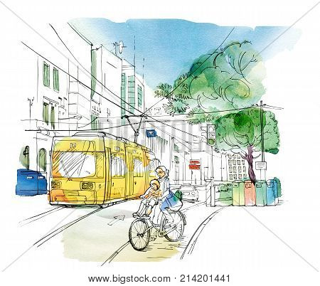 Sketch of an urban landscape with a Woman with a child on a bicycle a yellow trolley bus a car a traffic light and tanks for separate collection of garbage. Graphic arts. Raster illustration with elements of watercolor