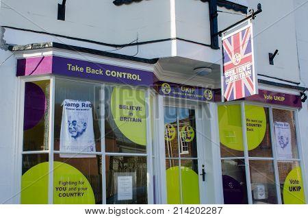 Harwich Essex United Kingdom -16 November 2017: UKIP Office frontage in Harwich