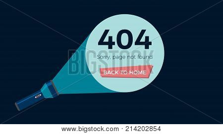Screen error 404 page not found. Flashlight shine on text and button. Flat vector illustration