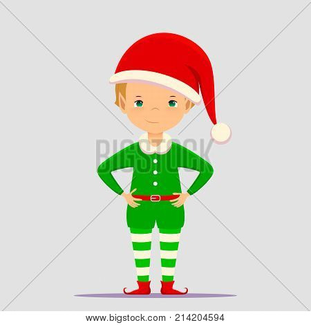 Christmas elf cartoon vector illustration. Flat slyle Santa Claus elf character portrait isolated on white background. Design element for Merry Xmas and Happy New Year card banner flayer leaflet poster.