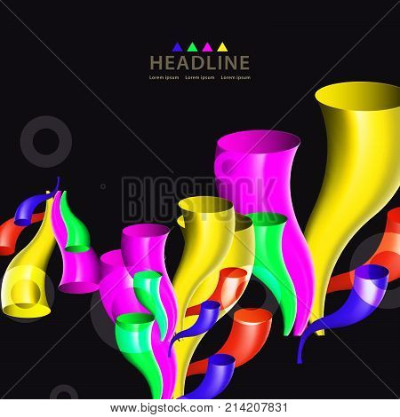 Brochure header colorful layout background template design with a plethora of glossy trumpets