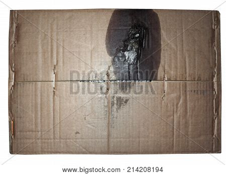 Brown Corrugated Cardboard Texture Background With Motor Oil Stain Isolated Over White
