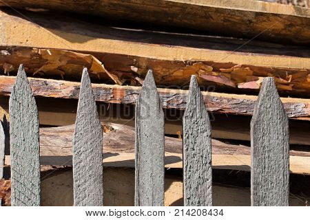 Background of wooden logs . Photo of an abstract texture