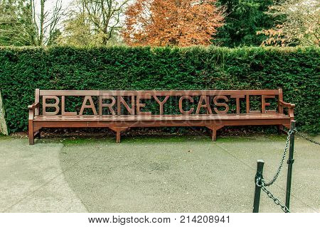 November 17th, 2017, Blarney, Ireland - Bench outside Blarney Castle, a medieval stronghold in Blarney, near Cork, Ireland, and the River Martin.