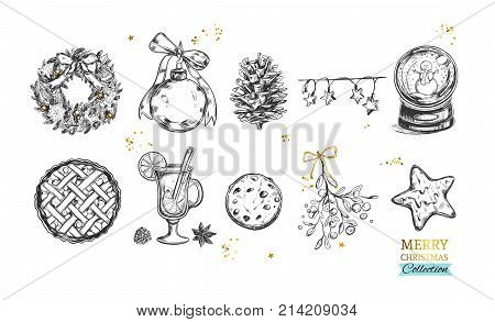 Merry Christmas and Happy New Year collection with hand drawn illustrations . Vector. Isolated objects
