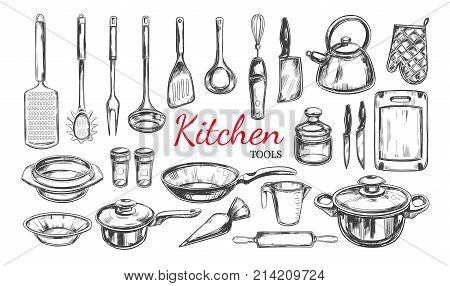 Kitchen utensil, tools set. Cooking collection. Vector hand drawn illustrations in sketch style. Isolated objects on white