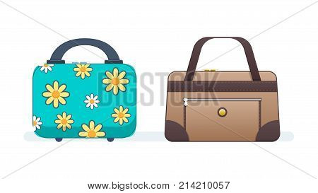 Ladies handbags for women, girls. Suitcase and leather bag for shopping, trips, everyday walks. Travel suitcase, journey package, business travel bag, trip luggage. Vector illustration.