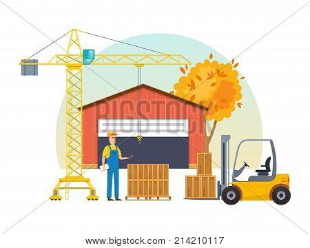 Autumn warehouse part boxes on wooden pallet, ready to loading. Cargo delivery, shipping. Loader man, lifts with help crane of boxes, taking them on the loader from the warehouse. Vector illustration.