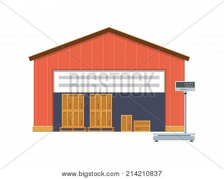 Wooden warehouse, storage, for goods, parcels, cargo. Cargo on wooden pallets, ready for loading. Near the warehouse are scales for measuring the weight and size of parcels. Vector illustration.