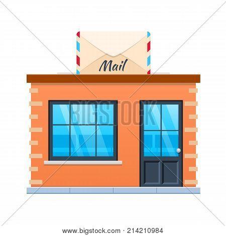 Concept of modern city mail building facade. City mail building. Street post office, service of delivery for people, online service, accepting letters, parcels. Urban landscape. Vector illustration.