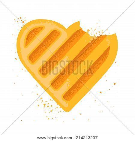 Heart shape cookie. Bitten cookie. Vector illustration