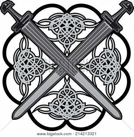 a pair of crossed swords in the old frame of a Celtic pattern
