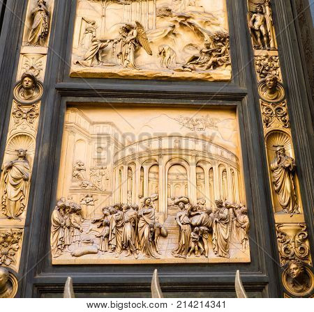 Panel on east door of the Baptistery of Saint John depicting the story of Joseph from the old testamanent