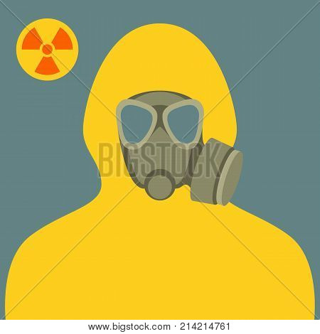 man in bio-hazard suit and gas mask flat style