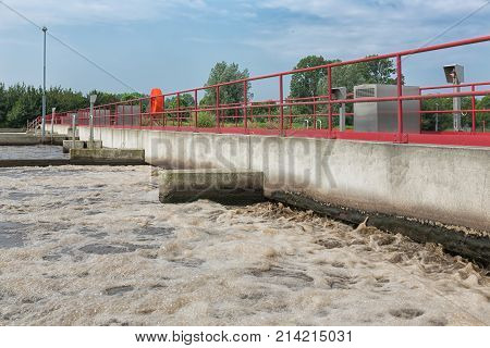 Sewage treatment plant. After primary sedimentation is the secondary basin for activating and aeration of the wastewater for biological oxidation with microorganisms