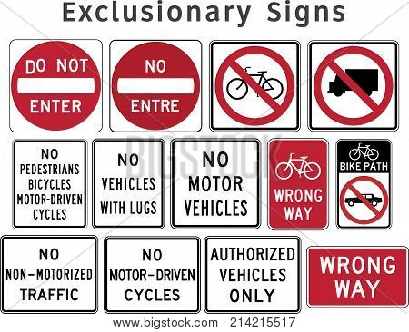 US regulatory traffic sign. Exclusionary. Vector illustration.