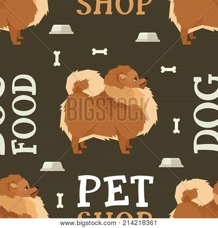 Pet shop Dog food seamless pattern Pomeranian set
