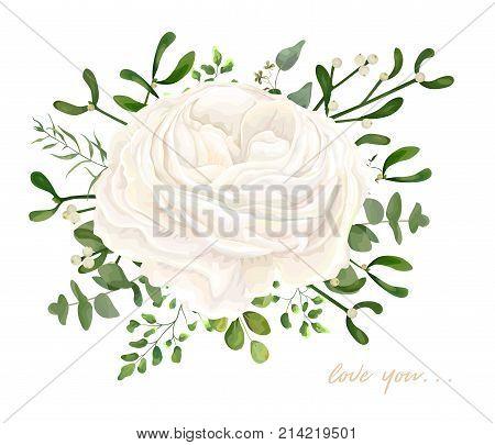 Vector floral bouquet design: garden white creamy Ranunculus Rose flower Eucalyptus branch green fern mistletoe leaves & berry. Wedding vector invite illustration Watercolor designer editable element