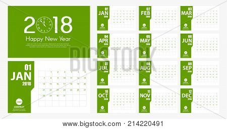 2018 New Year Calendar Simple Modern Style. Green And White. Event Planner. All Size. Vector Illustr