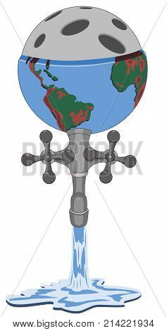 Concept of unreasonable consumption of human resources by planet earth, vector illustration