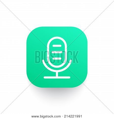 microphone line icon, audio recording vector sign, eps 10 file, easy to edit