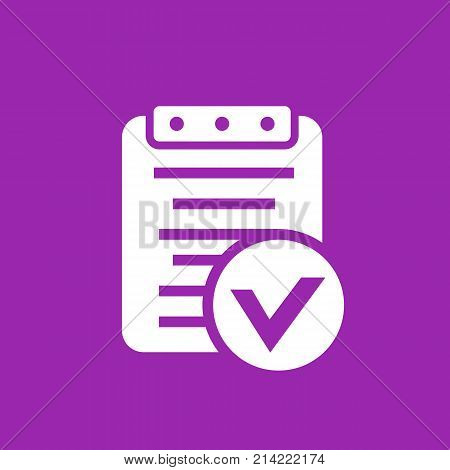 valid document, report icon, eps 10 file, easy to edit
